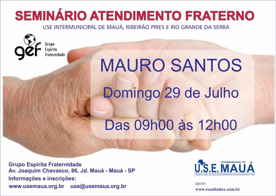 Domingo, dia 29-07, das 9h as 12h, com Mauro Santos no GEF